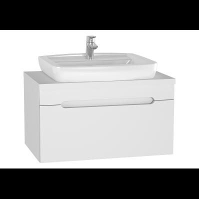 Folda Lavabo Dolabı, 80 cm, Tezgahüstü Lavabolu, Parlak Beyaz