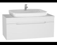 61027 - Folda Lavabo Dolabı, 100 cm, Tezgahüstü Lavabolu, Parlak Beyaz