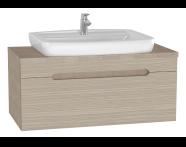 61028 - Folda Lavabo Dolabı, 100 cm, Tezgahüstü Lavabolu, Meşe