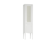 61080 - Elegance Tall Unit, 40 cm, with glass door, chrome handle, Matte White, right