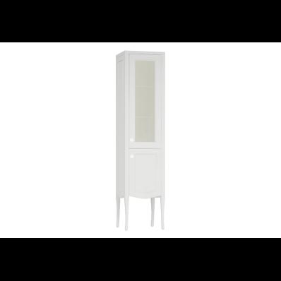 Elegance Cam kapaklı boy dolabı, 40 cm, Mat Beyaz, krom kulplu, sağ