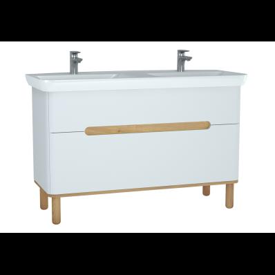 Sento Lavabo dolabı, çift çekmeceli, çift lavabolu, ayaklı, 130 cm, mat beyaz