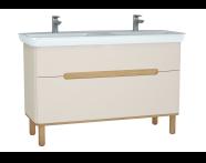 61185 - Sento Lavabo dolabı, çift çekmeceli, çift lavabolu, ayaklı, 130 cm, mat krem
