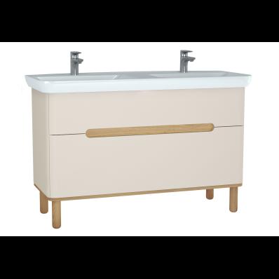 Sento Lavabo dolabı, çift çekmeceli, çift lavabolu, ayaklı, 130 cm, mat krem