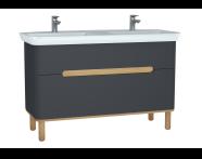 61186 - Sento Lavabo dolabı, çift çekmeceli, çift lavabolu, ayaklı, 130 cm, mat antrasit