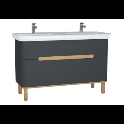 Sento Lavabo dolabı, çift çekmeceli, çift lavabolu, ayaklı, 130 cm, mat antrasit