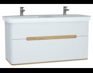 61187 - Sento Lavabo dolabı, çift çekmeceli, çift lavabolu, ayaksız, 130 cm, mat beyaz