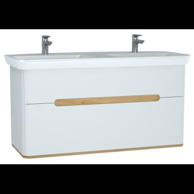 Sento Lavabo dolabı, çift çekmeceli, çift lavabolu, ayaksız, 130 cm, mat beyaz