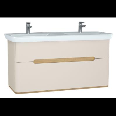 Sento Lavabo dolabı, çift çekmeceli, çift lavabolu, ayaksız, 130 cm, mat krem