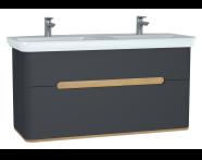 61189 - Sento Lavabo dolabı, çift çekmeceli, çift lavabolu, ayaksız, 130 cm, mat antrasit