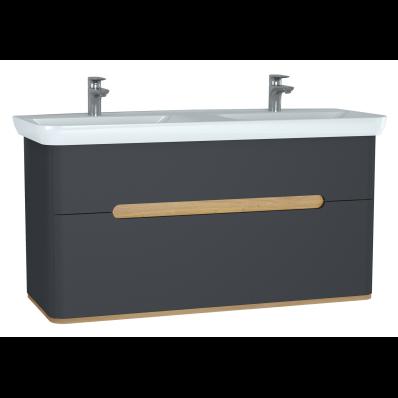 Sento Lavabo dolabı, çift çekmeceli, çift lavabolu, ayaksız, 130 cm, mat antrasit