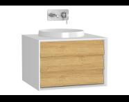 61195 - Frame Lavabo Dolabı, 60 cm, Tek Çekmeceli, Mat Beyaz