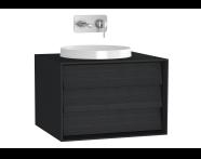 61196 - Frame Lavabo Dolabı, 60 cm, Tek Çekmeceli, Mat Siyah