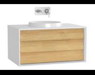 61198 - Frame Lavabo Dolabı, 80 cm, Tek Çekmeceli, Mat Beyaz