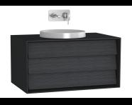 61199 - Frame Lavabo Dolabı, 80 cm, Tek Çekmeceli, Mat Siyah