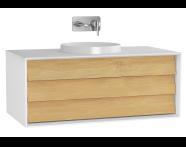 61201 - Frame Lavabo Dolabı, 100 cm, Tek Çekmeceli, Mat Beyaz