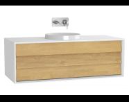 61204 - Frame Lavabo Dolabı, 120 cm, Tek Çekmeceli, Mat Beyaz