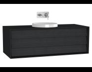 61205 - Frame Lavabo Dolabı, 120 cm, Tek Çekmeceli, Mat Siyah