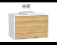 61207 - Frame Lavabo Dolabı, 80 cm, Çift Çekmeceli, Mat Beyaz