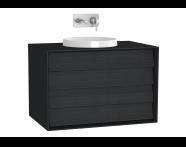 61208 - Frame Lavabo Dolabı, 80 cm, Çift Çekmeceli, Mat Siyah