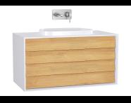 61210 - Frame Lavabo Dolabı, 100 cm, Çift Çekmeceli, Mat Beyaz