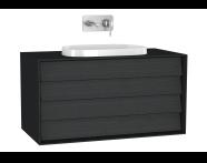 61211 - Frame Lavabo Dolabı, 100 cm, Çift Çekmeceli, Mat Siyah
