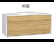 61213 - Frame Lavabo Dolabı, 120 cm, Çift Çekmeceli, Mat Beyaz