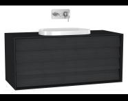 61214 - Frame Lavabo Dolabı, 120 cm, Çift Çekmeceli, Mat Siyah