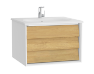 61216 - Frame Washbasin Unit, 60 cm, with 1 drawer, with White washbasin, Matte White