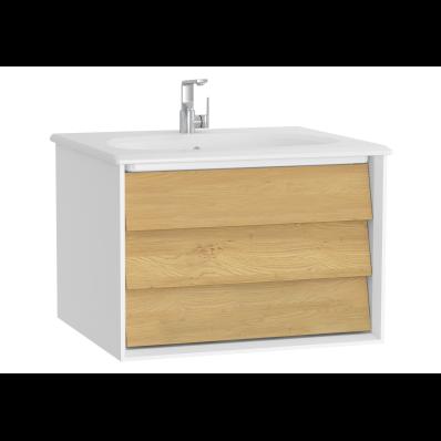 Frame Lavabo dolabı, tek çekmeceli, 60 cm, beyaz lavabolu, Mat Beyaz
