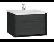 61217 - Frame Lavabo dolabı, tek çekmeceli, 60 cm, beyaz lavabolu, Mat Siyah