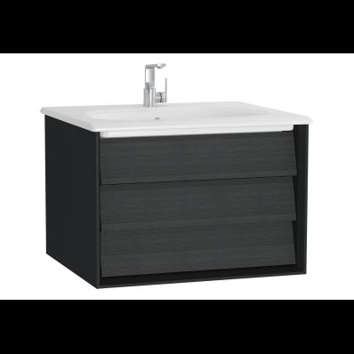 Frame Lavabo dolabı, tek çekmeceli, 60 cm, beyaz lavabolu, Mat Siyah