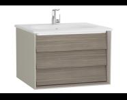 61218 - Frame Lavabo dolabı, tek çekmeceli, 60 cm, beyaz lavabolu, Mat Bej