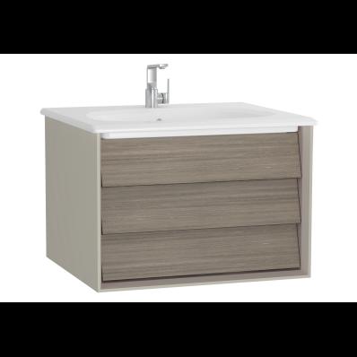 Frame Lavabo dolabı, tek çekmeceli, 60 cm, beyaz lavabolu, Mat Bej