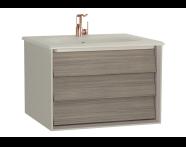 61219 - Frame Lavabo dolabı, tek çekmeceli, 60 cm, mat bej lavabolu, Mat Bej