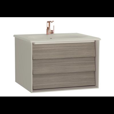 Frame Lavabo dolabı, tek çekmeceli, 60 cm, mat bej lavabolu, Mat Bej
