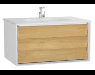 61220 - Frame Lavabo dolabı, tek çekmeceli, 80 cm, beyaz lavabolu, Mat Beyaz