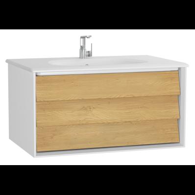 Frame Lavabo dolabı, tek çekmeceli, 80 cm, beyaz lavabolu, Mat Beyaz