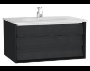 61221 - Frame Lavabo dolabı, tek çekmeceli, 80 cm, beyaz lavabolu, Mat Siyah