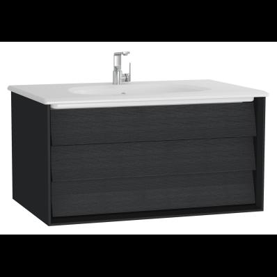 Frame Lavabo dolabı, tek çekmeceli, 80 cm, beyaz lavabolu, Mat Siyah