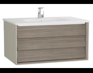 61222 - Frame Lavabo dolabı, tek çekmeceli, 80 cm, beyaz lavabolu, Mat Bej