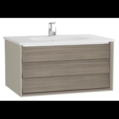 Frame Lavabo dolabı, tek çekmeceli, 80 cm, beyaz lavabolu, Mat Bej