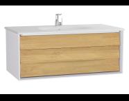 61224 - Frame Lavabo dolabı, tek çekmeceli, 100 cm, beyaz lavabolu, Mat Beyaz