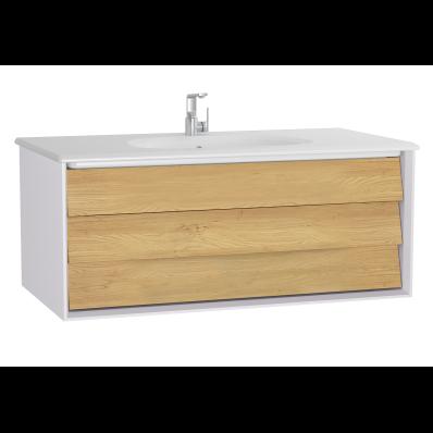 Frame Lavabo dolabı, tek çekmeceli, 100 cm, beyaz lavabolu, Mat Beyaz