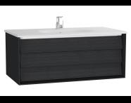 61225 - Frame Lavabo dolabı, tek çekmeceli, 100 cm, beyaz lavabolu, Mat Siyah