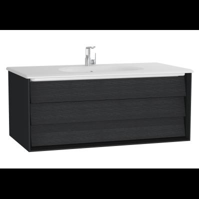 Frame Lavabo dolabı, tek çekmeceli, 100 cm, beyaz lavabolu, Mat Siyah