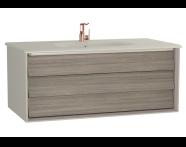 61226 - Frame Lavabo dolabı, tek çekmeceli, 100 cm, beyaz lavabolu, Mat Bej