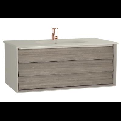 Frame Lavabo dolabı, tek çekmeceli, 100 cm, beyaz lavabolu, Mat Bej