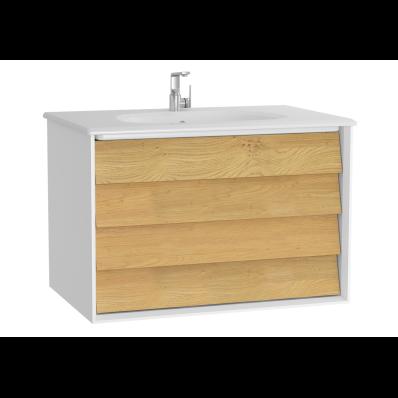 Frame Lavabo dolabı, çift çekmeceli, 80 cm, beyaz lavabolu, Mat Beyaz