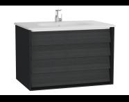 61229 - Frame Lavabo dolabı, çift çekmeceli, 80 cm, beyaz lavabolu, Mat Siyah